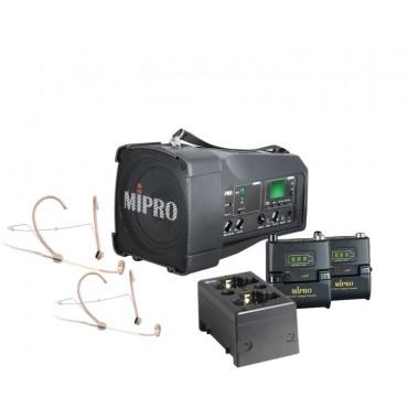 Mipro MA-100DG + Mipro MU-53HNS x 2 + Mipro ACT-58TC x 2 + Mipro MP-80 lader